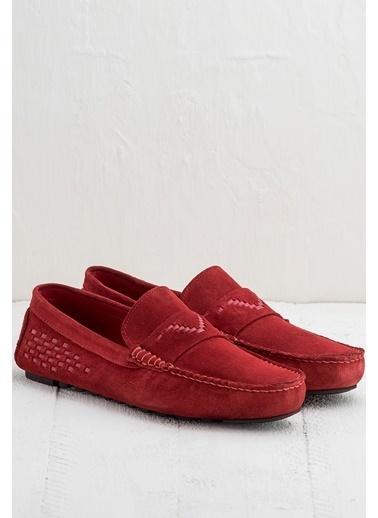 Elle %100 Deri Loafer Ayakkabı Kırmızı